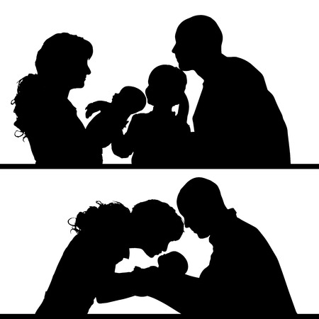 Vector silhouette of family on white background.