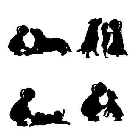 perro labrador: silueta de niño sobre un fondo blanco. Vectores