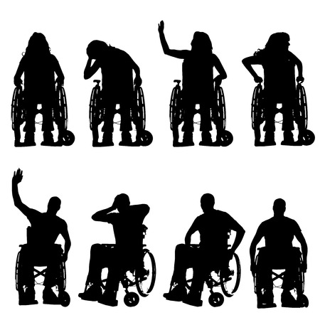 medicine wheel: silhouettes of people in a wheelchair on a white background.