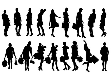 silhouette of women with shopping bags. Vector