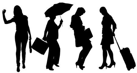 sexy umbrella: Vector silhouette of women on a white background. Illustration