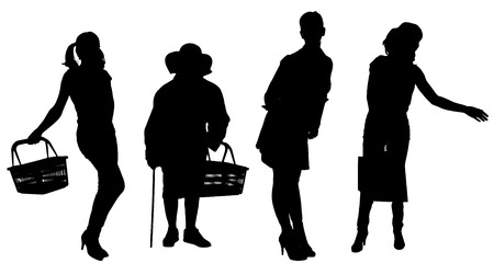 silhouette of women on a white background. Vector
