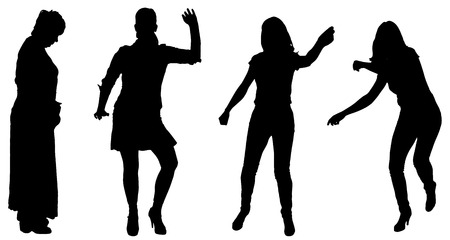Vector silhouette of women on a white background. Vector