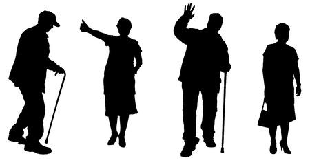 Vector silueta de las personas de edad en un fondo blanco.