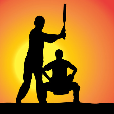 Vector silhouettes of men who play baseball at sunset. Vector