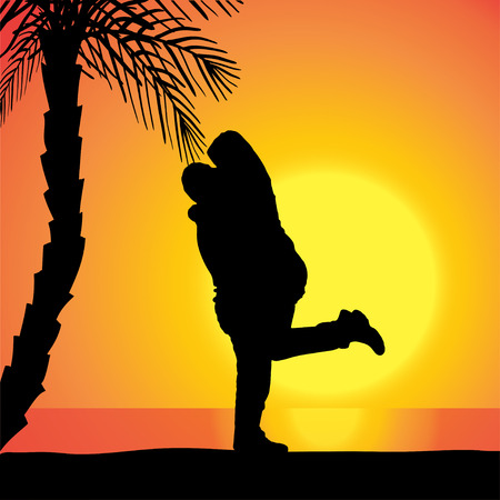 Vector silhouette of couple on beach at sunset. Vector