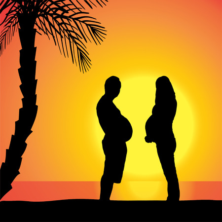 fat body: Vector silhouette of couple on beach at sunset.