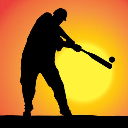 Vector silhouettes of man who play baseball at sunset. Vector