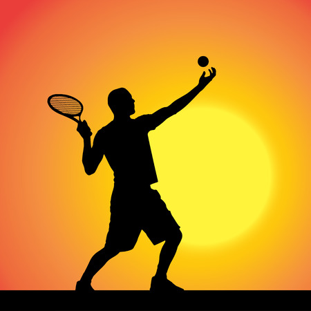 Vector silhouette of a man playing tennis at sunset. Vector