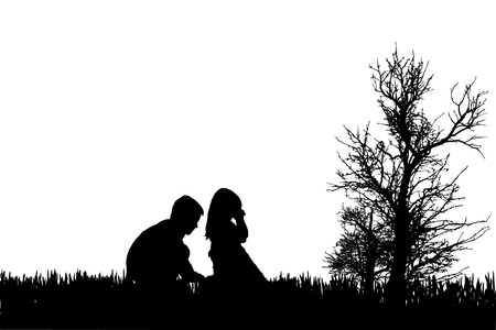 Vector silhouette of children in nature on white badckground. Vector