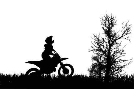 fmx: Vector silhouette of a man on a motorcycle as he rides in the countryside. Illustration