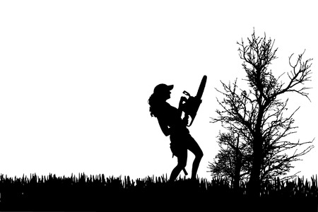 Vector silhouette of woman who work in the garden. Vector
