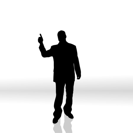 activ: Vector silhouette of a man on white background. Illustration