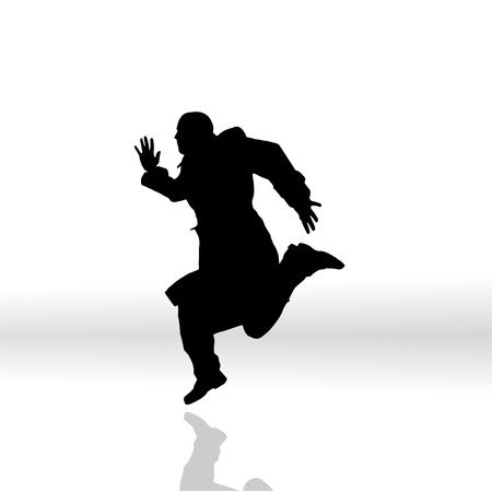 Vector silhouette of a man on white background. Vector