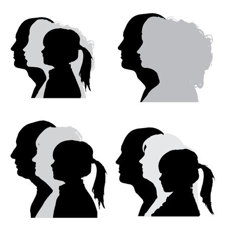 Vector silhouetten van mensen in profiel op een witte achtergrond.