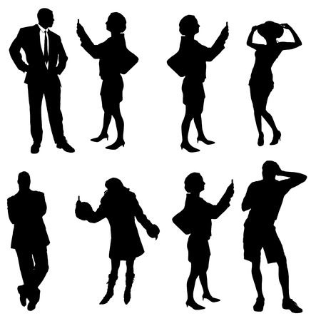 Vector silhouette of a people on a white background. Vector