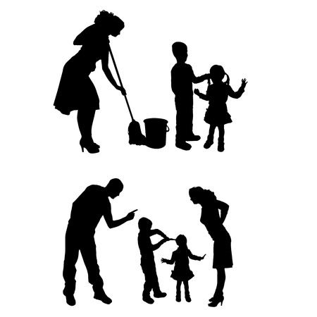 hassle: Vector silhouette of family on a white background.  Illustration