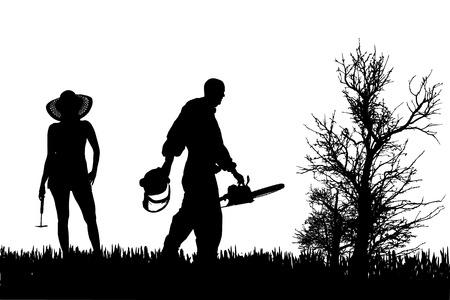 Vector silhouette of people who work in the garden. Vector