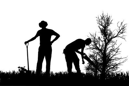 Vector silhouette of people who work in the garden. Vector