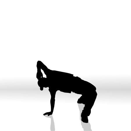 activ: Vector silhouette of man on a white background.