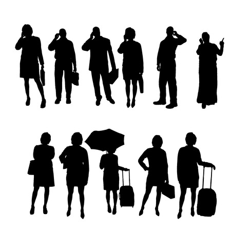 sexy business woman: Vector silhouettes of business people on a white background.