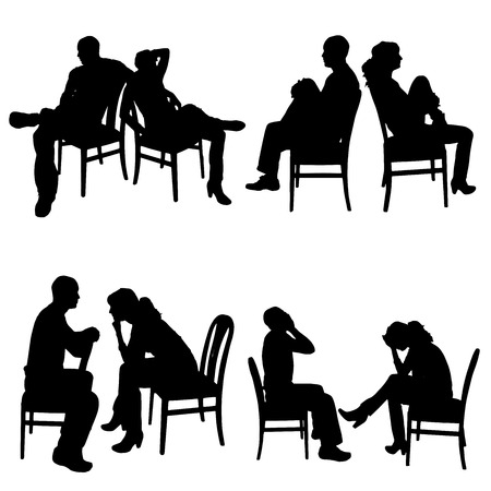 hassle: Vector silhouette of couple sitting on a chair.