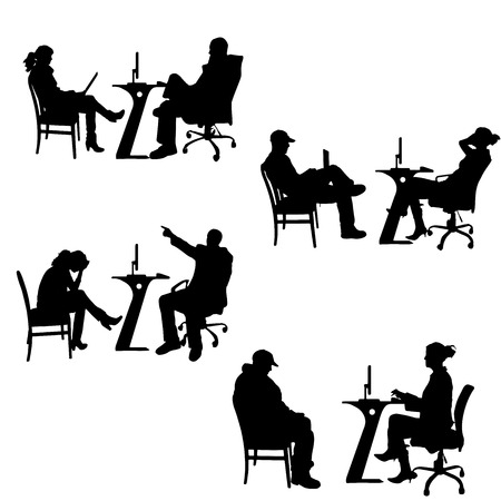 Vector silhouettes of people in the office on a white background. Vector