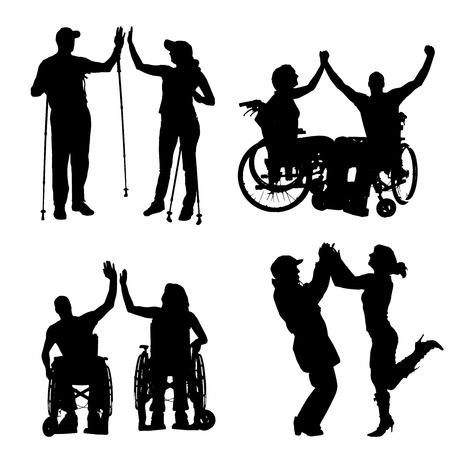 medicine wheel: Vector silhouettes of people on a white background.  Illustration