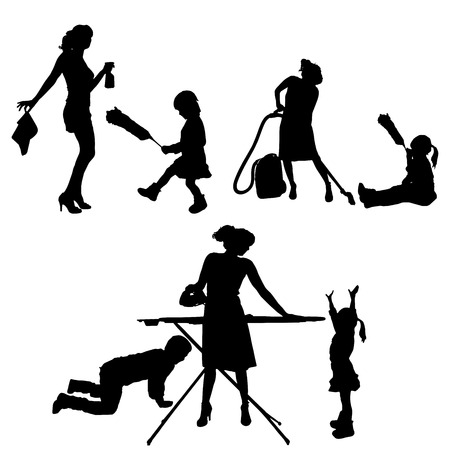 iron fun: Vector silhouette of family on a white background.  Illustration
