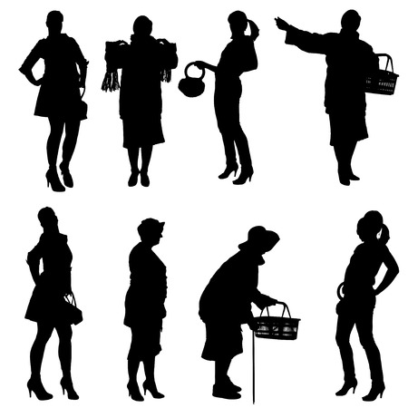 Vector silhouette of women on a white background. Illustration