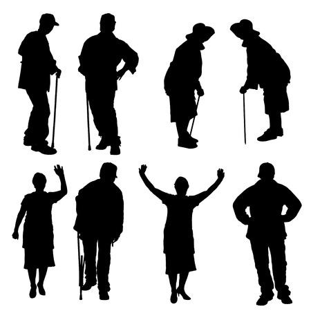 Vector silhouette di anziani su uno sfondo bianco. Archivio Fotografico - 29386178