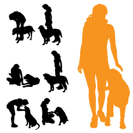 Vector silhouette of people with dog on a white background.
