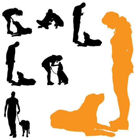 dog training: Vector silhouette of people with dog on a white background.