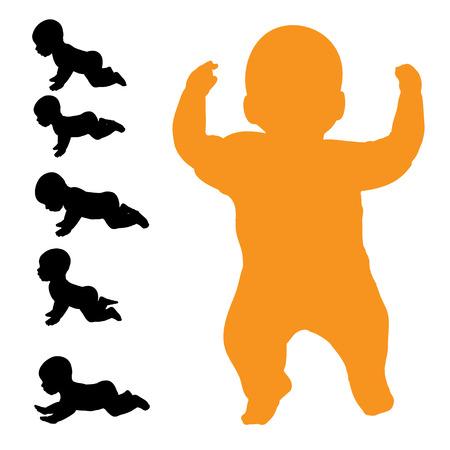 suckling: Vector silhouette di bambino su uno sfondo bianco. Vettoriali