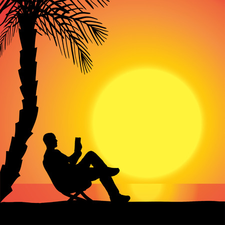 Vector silhouette of man on beach at sunset. Vetores