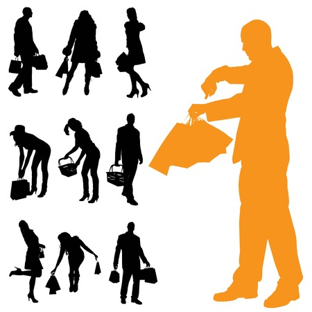Vector silhouette of a people with shopping bags. Illustration