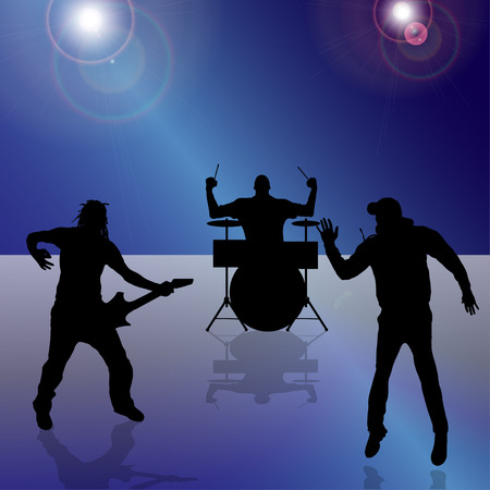 Vector silhouette of the band on a colored background. Vector