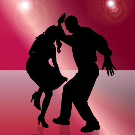 Vector silhouette of people who dance on red background.  Vector
