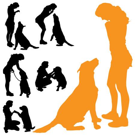perro labrador: Vector silueta de las personas con perro sobre fondo blanco.