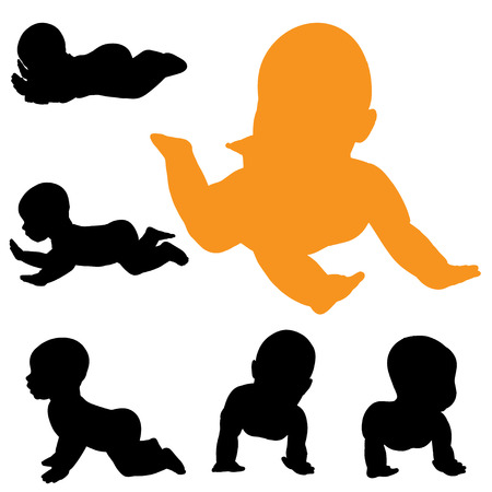 suckling: Vector silhouette of baby on a white background.