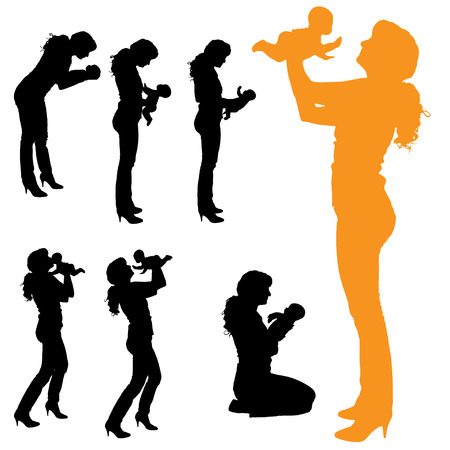 suckling: Vector silhouette of family on a white background.  Illustration