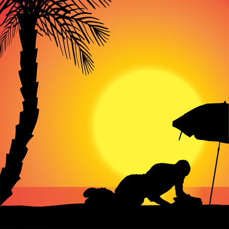 palm reading: Vector silhouette of man on beach at sunset.