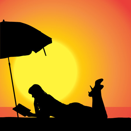 sexy umbrella: Vector silhouette of woman on beach at sunset.