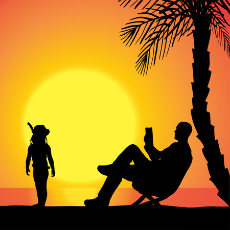 Vector silhouette of family on beach at sunset.  Vector