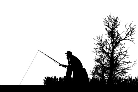 Vector silhouette of fishermen fish at the pond.