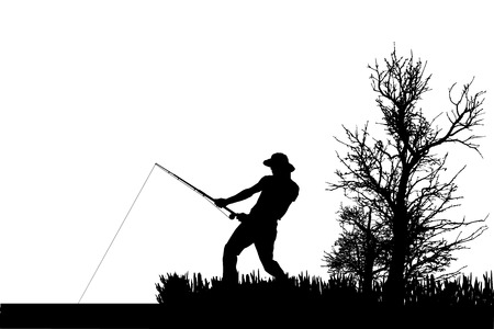 Vector silhouette of fishermen fish at the pond. Vector