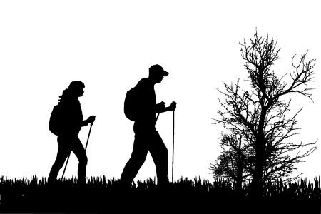 Vector silhouet van mensen met nordic walking in de natuur. Stock Illustratie