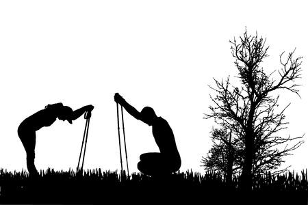 自然の中でノルディックウォー キングを持つ人々 のベクトル シルエット。  イラスト・ベクター素材