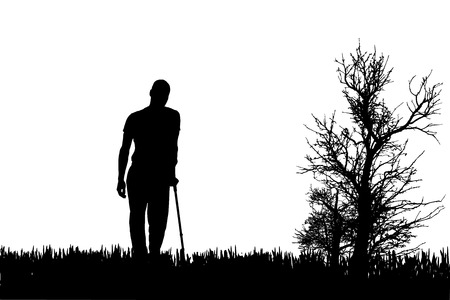 Vector silhouettes of people walking on crutches. Vector