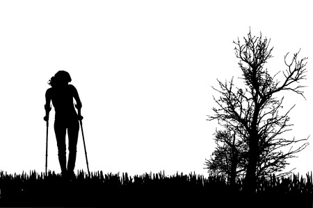 crutches: Vector silhouettes of people walking on crutches.